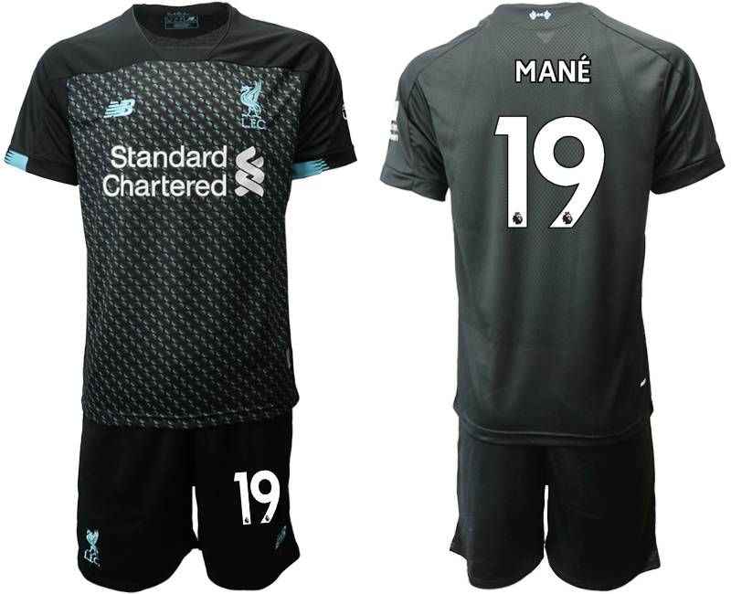Mens 19-20 Soccer Liverpool Club #19 Mane Black Second Away Short Sleeve Suit Jersey