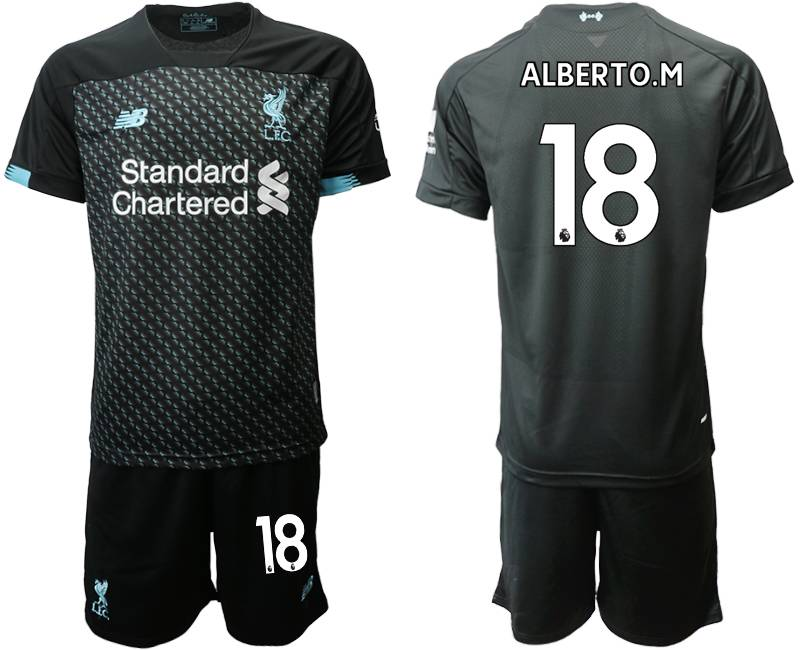 Mens 19-20 Soccer Liverpool Club #18 Alberto.m Black Second Away Short Sleeve Suit Jersey
