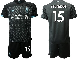 Mens 19-20 Soccer Liverpool Club #15 Sturridge Black Second Away Short Sleeve Suit Jersey