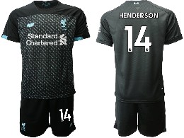 Mens 19-20 Soccer Liverpool Club #14 Henderson Black Second Away Short Sleeve Suit Jersey