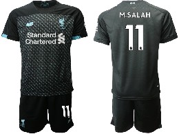 Mens 19-20 Soccer Liverpool Club #11 M.salah Black Second Away Short Sleeve Suit Jersey