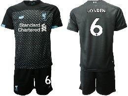 Mens 19-20 Soccer Liverpool Club #6 Lovren Black Second Away Short Sleeve Suit Jersey
