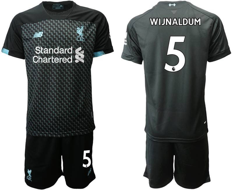 Mens 19-20 Soccer Liverpool Club #5 Wijnaldum Black Second Away Short Sleeve Suit Jersey
