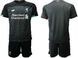 Mens 19-20 Soccer Liverpool Club ( Blank ) Black Second Away Short Sleeve Suit Jersey