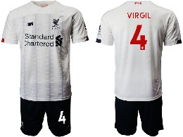 Mens 19-20 Soccer Liverpool Club #4 Virgil White Away Short Sleeve Suit Jersey