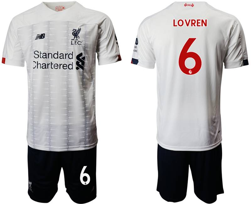 Mens 19-20 Soccer Liverpool Club #6 Lovren White Away Short Sleeve Suit Jersey