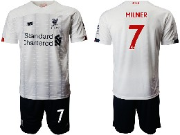 Mens 19-20 Soccer Liverpool Club #7 Milner White Away Short Sleeve Suit Jersey