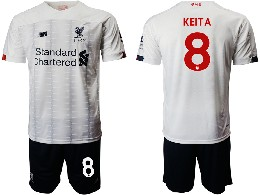 Mens 19-20 Soccer Liverpool Club #8 Keita White Away Short Sleeve Suit Jersey