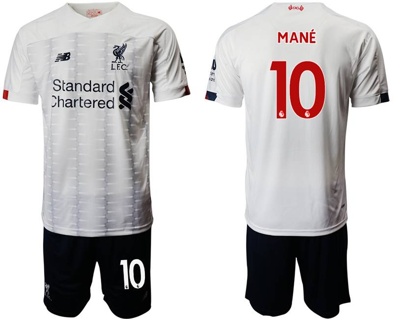 Mens 19-20 Soccer Liverpool Club #10 Mane White Away Short Sleeve Suit Jersey