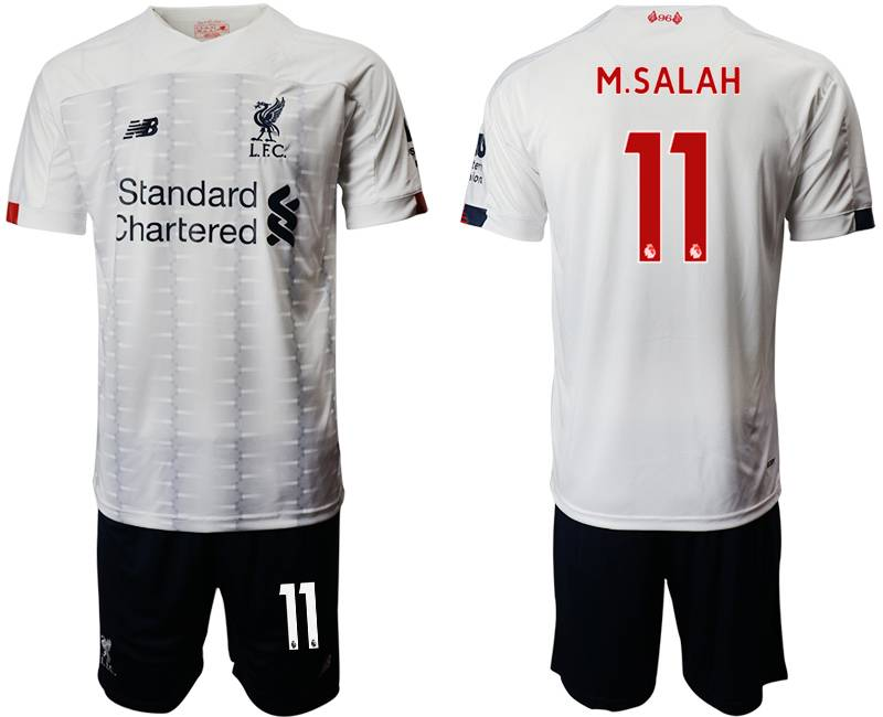 Mens 19-20 Soccer Liverpool Club #11 M.salah White Away Short Sleeve Suit Jersey