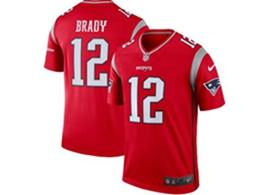 Women Youth New England Patriots #12 Tom Brady Red Nike Inverted Legend Jersey