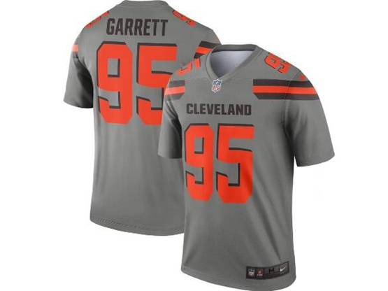 Mens Nfl Cleveland Browns #95 Myles Garrett Gray Nike Inverted Legend Jersey