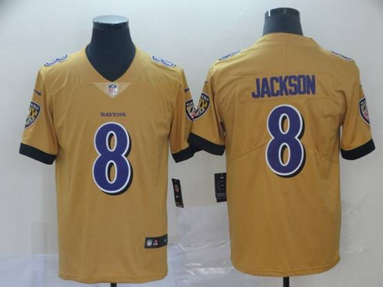 Mens Nfl Baltimore Ravens #8 Lamar Jackson Gold Nike Inverted Legend Vapor Untouchable Limited Jersey