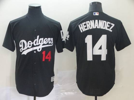 Mens Mlb Los Angeles Dodgers #14 Enrique Hernandez Black Inverted Legend Cool Base Jersey