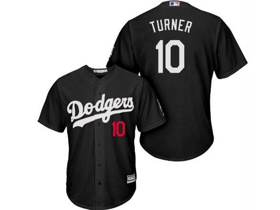 Mens Mlb Los Angeles Dodgers #10 Justin Turner Black Inverted Legend Cool Base Jersey