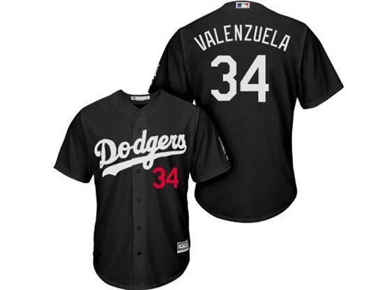 Mens Mlb Los Angeles Dodgers #34 Fernando Valenzuela Black Inverted Legend Cool Base Jersey
