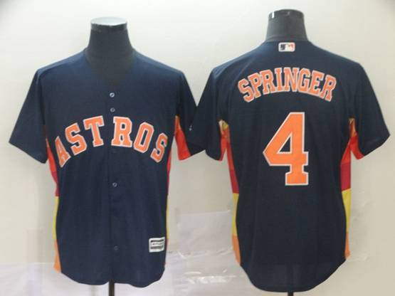 Mens Houston Astros #4 George Springer Navy Cool Base Jersey