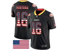 Mens Nfl San Francisco 49ers #16 Joe Montana Usa Flag Fashion Black Vapor Untouchable Limited Jersey