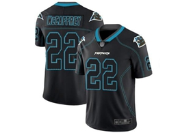 Mens Nfl Carolina Panthers #22 Christian Mccaffrey Lights Out Black Vapor Untouchable Limited Jersey