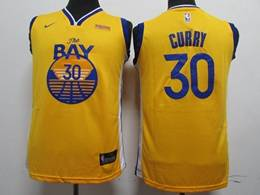 Kids Nba New Nike Golden State Warriors #30 Stephen Curry Gold Swingman Jersey