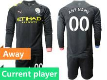 Mens 19-20 Soccer Manchester City Club Current Player Black Away Long Sleeve Suit Jersey