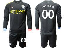 Mens 19-20 Soccer Manchester City Club ( Custom Made ) Black Away Long Sleeve Suit Jersey