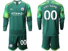 Mens 19-20 Soccer Manchester City Club ( Custom Made ) Green Goalkeeper Long Sleeve Suit Jersey