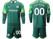 Mens 19-20 Soccer Manchester City Club ( Custom Made ) Green Goalkeeper Long Sleeve Suit Jersey