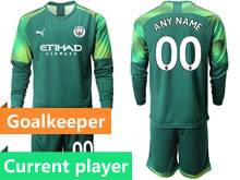 Mens 19-20 Soccer Manchester City Club Current Player Green Goalkeeper Long Sleeve Suit Jersey