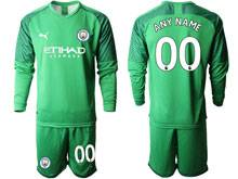 Mens 19-20 Soccer Manchester City Club ( Custom Made ) Fluorescence Green Goalkeeper Long Sleeve Suit Jersey