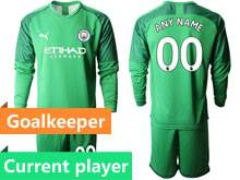 Mens 19-20 Soccer Manchester City Club Current Player Fluorescence Green Goalkeeper Long Sleeve Suit Jersey