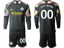 Mens 19-20 Soccer Manchester City Club ( Custom Made ) Black Goalkeeper Long Sleeve Suit Jersey