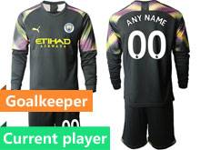 Mens 19-20 Soccer Manchester City Club Current Player Black Goalkeeper Long Sleeve Suit Jersey