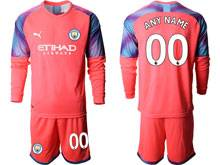 Mens 19-20 Soccer Manchester City Club ( Custom Made ) Red Goalkeeper Long Sleeve Suit Jersey