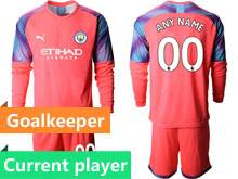 Mens 19-20 Soccer Manchester City Club Current Player Red Goalkeeper Long Sleeve Suit Jersey