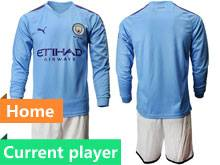 Mens 19-20 Soccer Manchester City Club Current Player Blue Home Long Sleeve Suit Jersey
