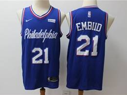 Mens Nba Philadelphia 76ers #21 Joel Embiid Blue New Season Nike Swingman Jersey