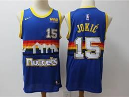 Mens Nba Denver Nuggets #15 Nikola Jokic Blue Rainbow Edition Hardwood Classics Swingman Jersey