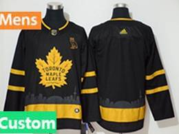 Mens Nhl Toronto Maple Leafs Leafs Custom Made Black City Edition Adidas Jersey