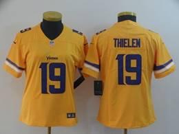 Women Minnesota Vikings #19 Adam Thielen Gold Nike Inverted Legend Vapor Untouchable Limited Jersey