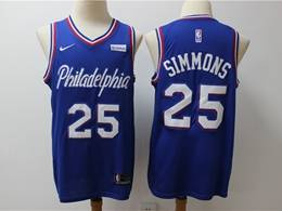 Mens Nba Philadelphia 76ers #25 Ben Simmons Blue New Season Nike Swingman Jersey