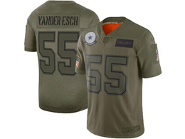 Mens Women Youth 2019 New Nfl Dallas Cowboys #55 Leighton Vander Esch Green Salute To Service Limited Jersey