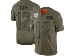 Mens Women 2019 New Nfl Seattle Seahawks #12 Fan Green Salute To Service Limited Jersey