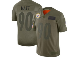 Mens Women 2019 New Nfl Pittsburgh Steelers #90 T. J. Watt Green Salute To Service Limited Jersey