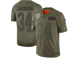 Mens Women 2019 New Nfl Oakland Raiders #34 Bo Jackson Green Salute To Service Limited Jersey