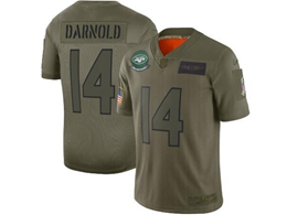 Mens Women 2019 New Nfl New York Jets #14 Sam Darnold Green Salute To Service Limited Jersey