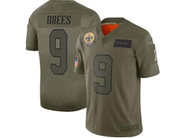 Mens Women 2019 New Nfl New Orleans Saints #9 Drew Brees Green Salute To Service Limited Jersey