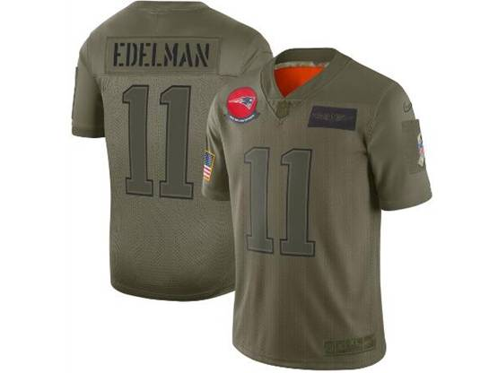 Mens Women 2019 New England Patriots #11 Julian Edelman Green Salute To Service Limited Jersey