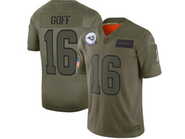 Mens Women 2019 New Nfl Los Angeles Rams #16 Jared Goff Green Salute To Service Limited Jersey