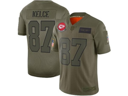 Mens Women 2019 New Nfl Kansas City Chiefs #87 Travis Kelce Green Salute To Service Limited Jersey